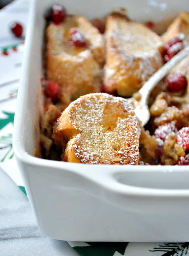 Overnight French Toast Casserole in a baking dish after coming out of the oven