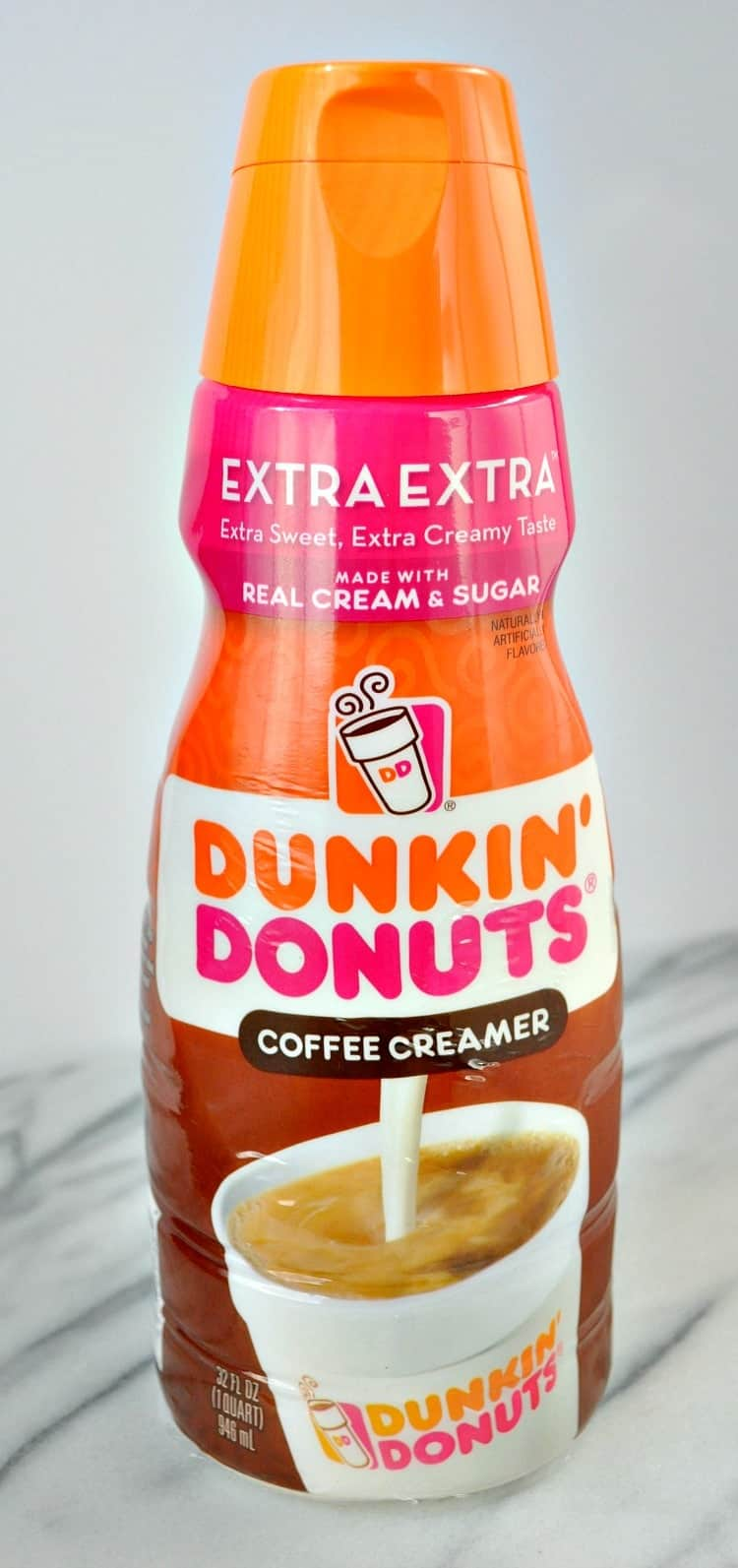 A close up shot of dunkin donuts coffee creamer