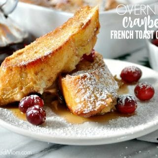 Two slices of overnight french toast casserole on a plate