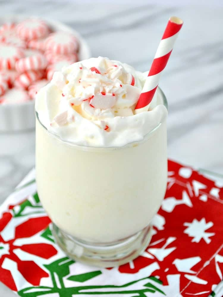 A dairy-free, egg-free Peppermint Nog Protein Shake is an easy breakfast or snack to power you through the holiday season!