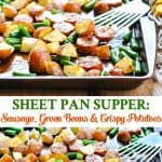 Long collage of Sheet Pan Dinner of Italian Sausage with Potatoes