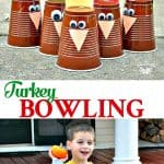 Long collage of Turkey Bowling Thanksgiving Game for Kids