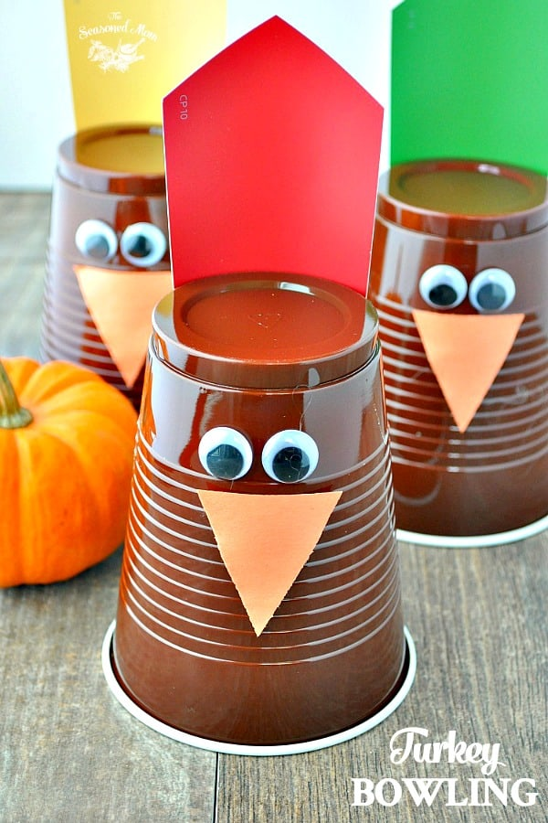 Turkey Bowling Thanksgiving Game for Kids with Text Overlay