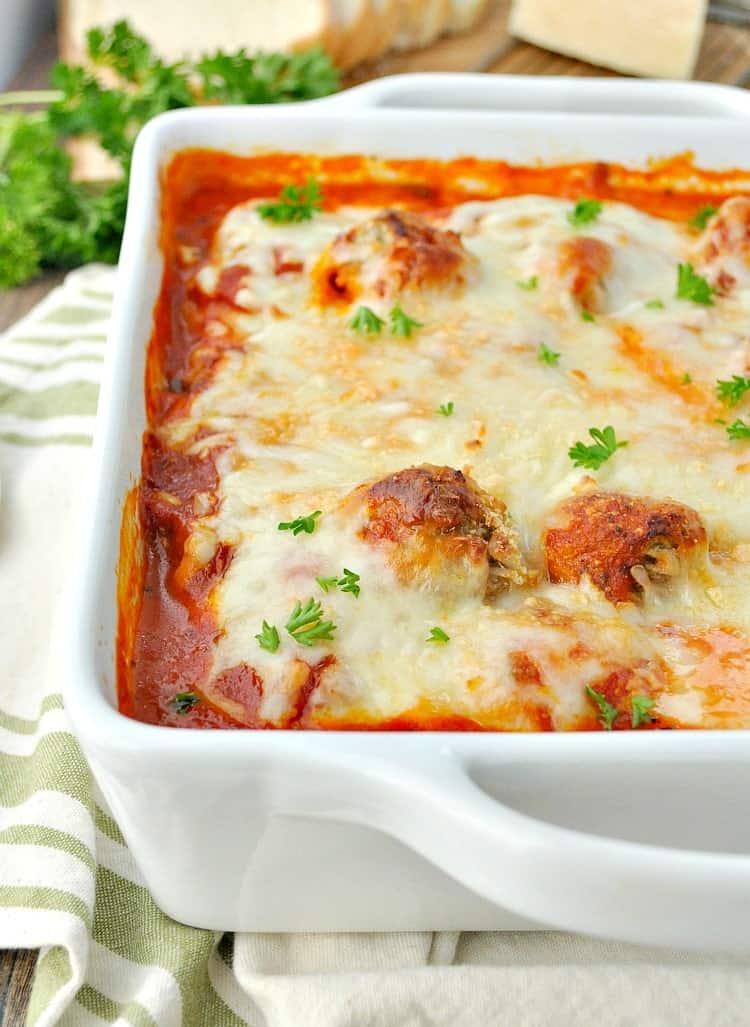 Meatball Ravioli Casserole in a white dish