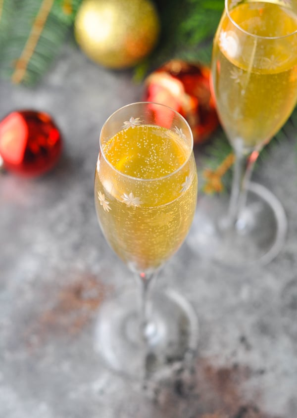 Overhead image of champagne cocktail with bubbles