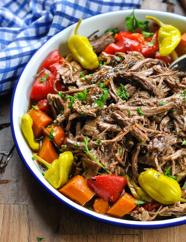 Close up view of shredded Italian Slow Cooker Pot Roast