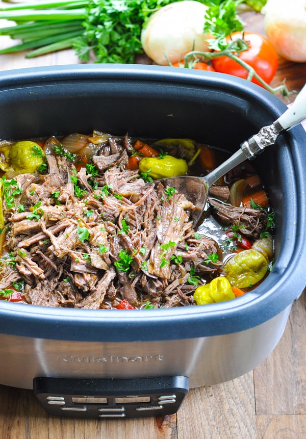 Shredded Italian beef in slow cooker