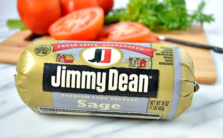 A close up shot of Jimmy Dean sausage used to make a cheese pie