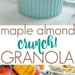A collage image of maple almond crunch granola