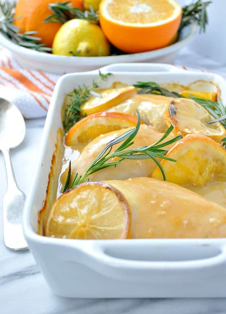 "This ""No Work"" Citrus & Herb Baked Chicken is a fast, easy and healthy weeknight dinner recipe!"