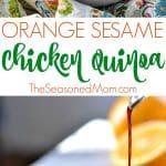 A collage image of sesame chicken quinoa