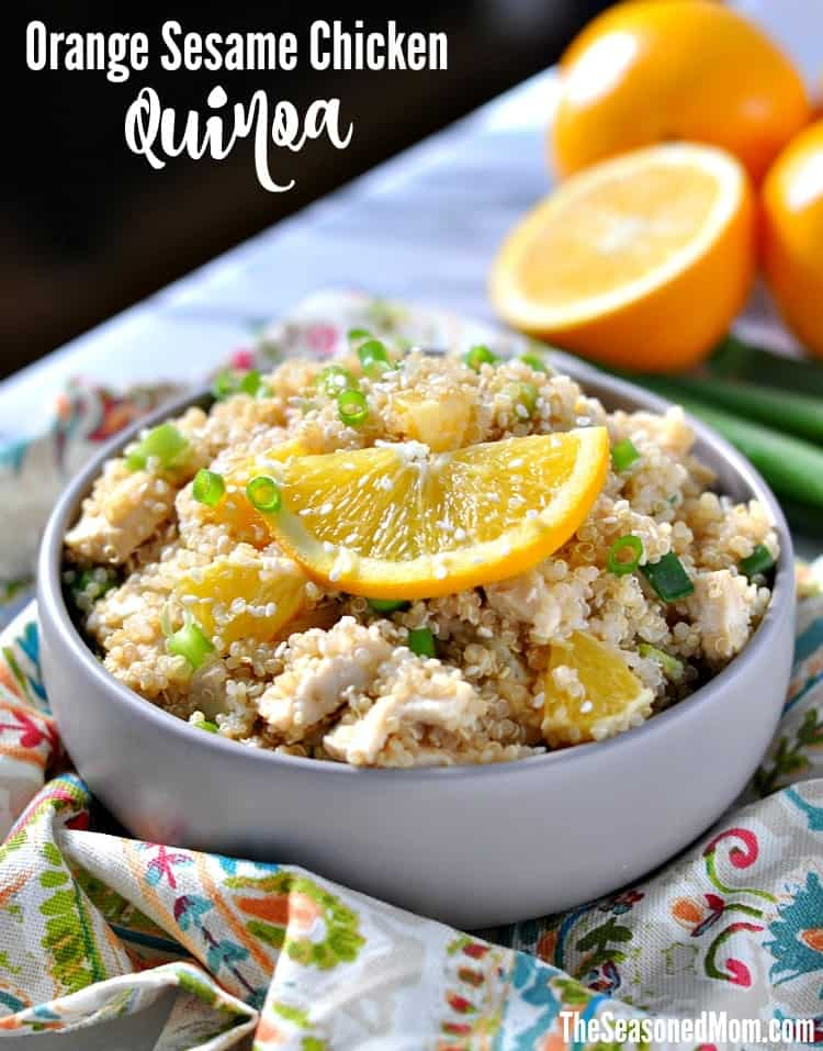 This Orange Sesame Chicken Quinoa is a high-protein, clean eating recipe for a healthy lunch or dinner that's fresh, FAST, and easy to prepare in advance!