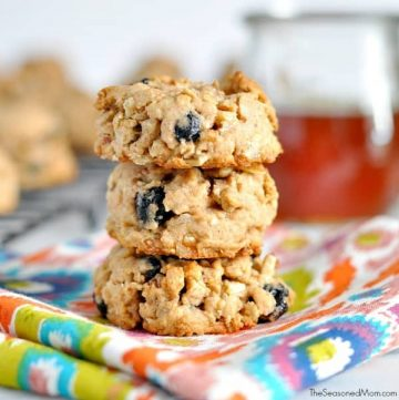 Healthy trail mix cookies stacked on top of each other