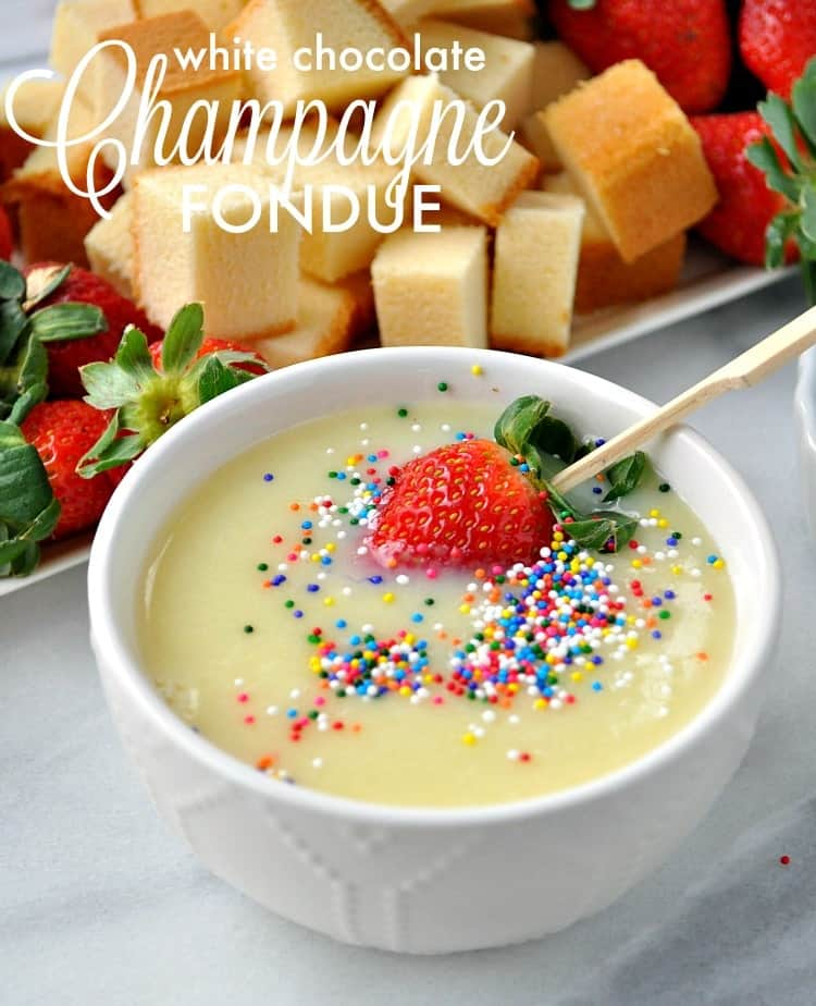 This 4-Ingredient White Chocolate Champagne Fondue is the perfect dessert for Christmas parties, New Year's Eve gatherings, or any other special celebration!