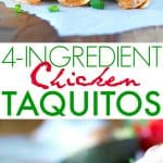 A collage image of chicken taquitos