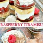 Long collage image of Easy Chocolate Raspberry Tiramisu