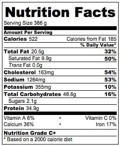 Dump and Bake Chicken Alfredo Casserole Nutrition Information