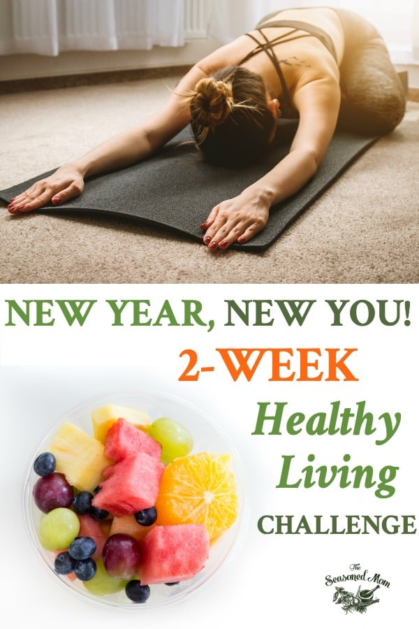 Long collage of Two Week Healthy Living Challenge with Meal Plan and Workouts for New Year