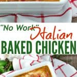 A collage image of Italian baked chicken