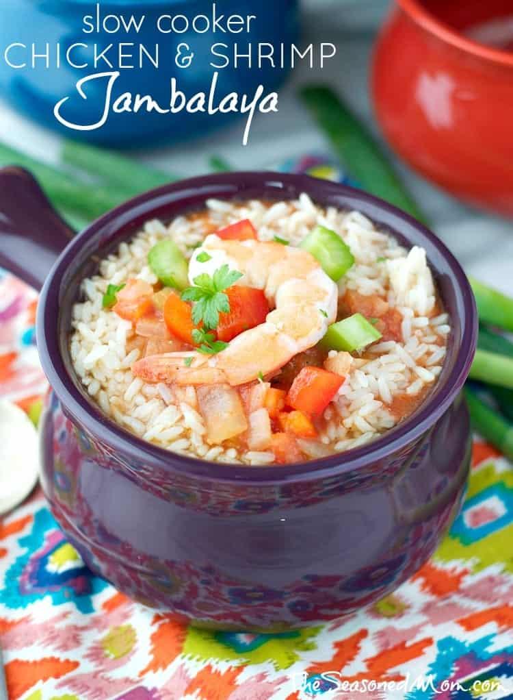 Slow Cooker Chicken and Shrimp Jambalaya - The Seasoned Mom