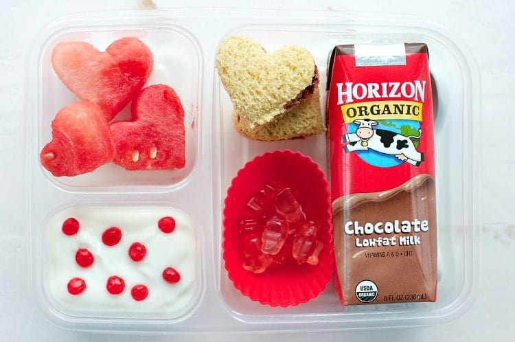 An overhead shot of a Valentine's Day Lunch box