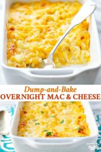 Long collage of Overnight Macaroni and Cheese
