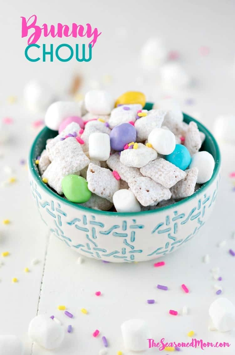 Bunny Chow is a fun Easter Snack for Kids, and the Nut-Free Muddy Buddies make the perfect classroom treat! A fun spring twist on the classic puppy chow recipe!