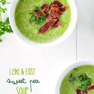 An over head shot of two bowls of sweet pea soup