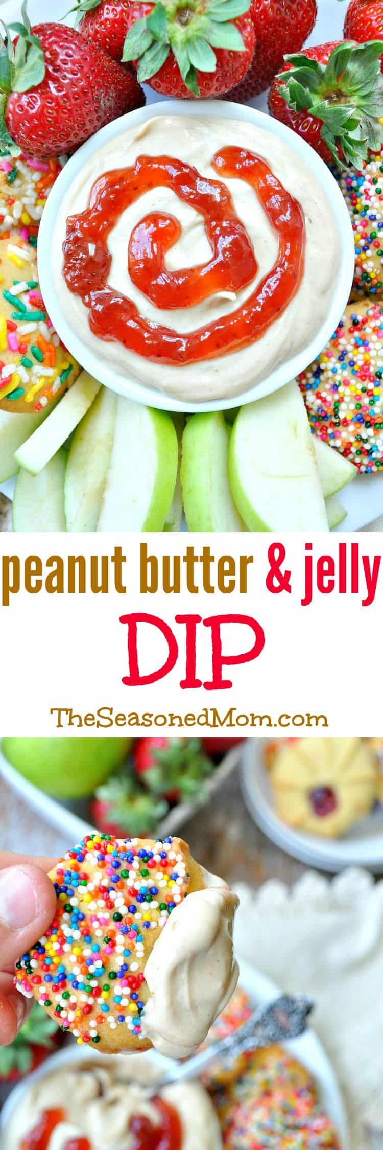 Whip up a quick 3-Ingredient Peanut Butter and Jelly Dip for a healthy snack that kids and adults LOVE!
