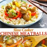 Collage image of slow cooker chinese meatballs