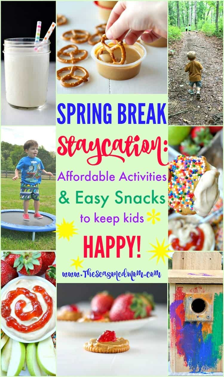 Planning a Spring Break Staycation this year? Here is the ultimate list of affordable spring break activities and easy snacks for kids -- plus a printable activity calendar and shopping list to make your time off easy and FUN!