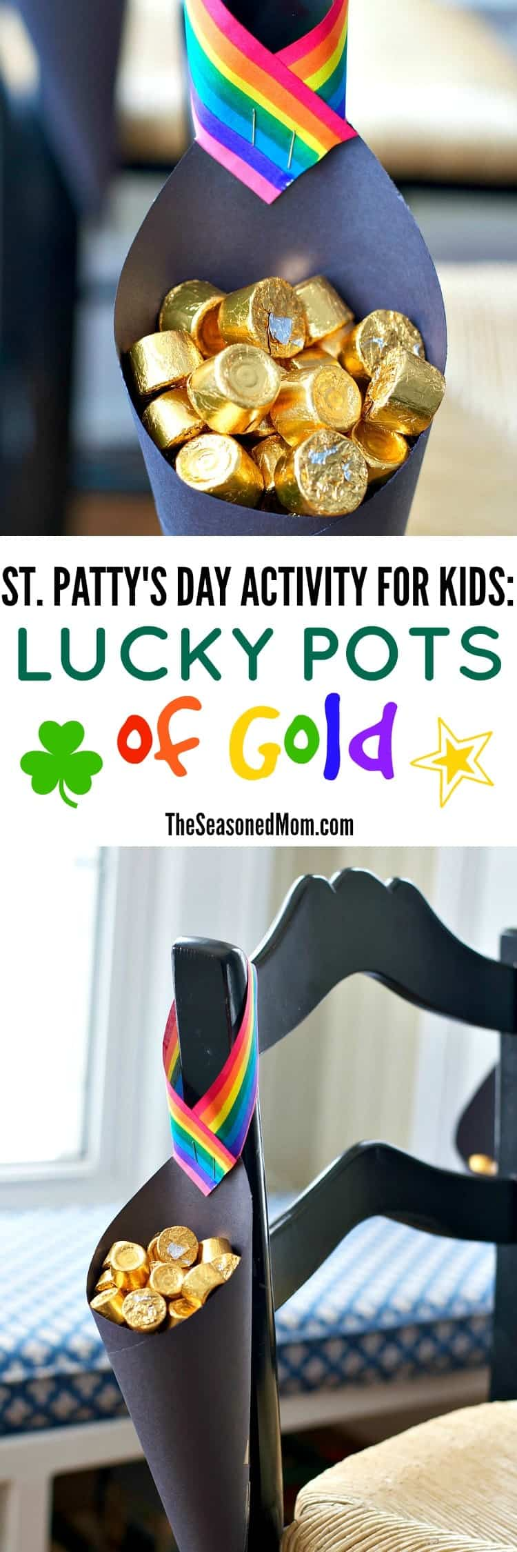"Try this easy St. Patrick's Day Activity for Kids: Lucky Pots of Gold! Hang them on a chair or doorknob and let the leprechauns ""fill"" them overnight!"