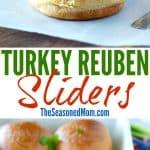 A collage image of turkey reuben sliders