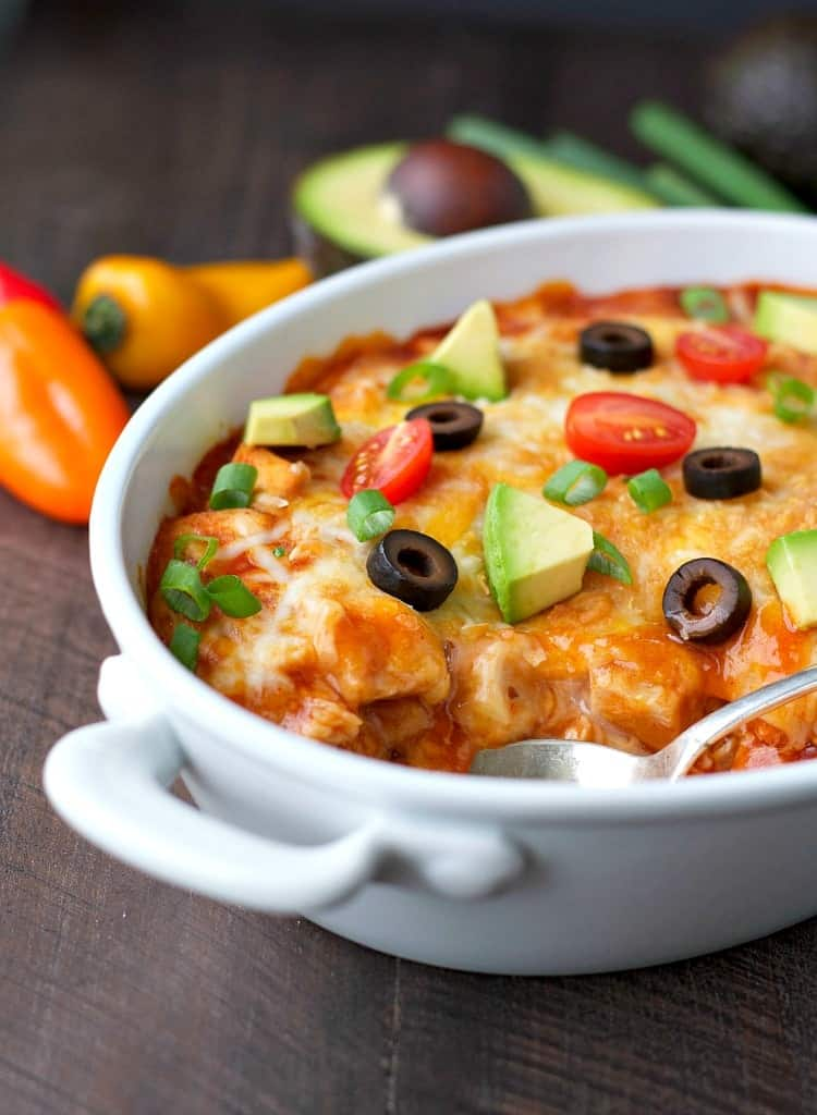 4 ingredient healthy chicken enchilada casserole the seasoned mom with just four basic ingredients you can have a healthy chicken enchilada casserole ready to go forumfinder Image collections