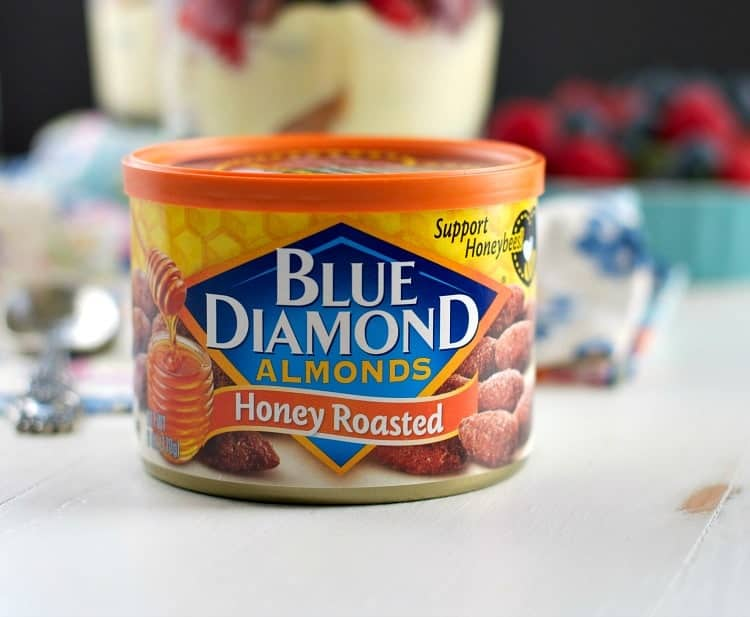 A tin of blue diamond almonds used to make a donut trifle