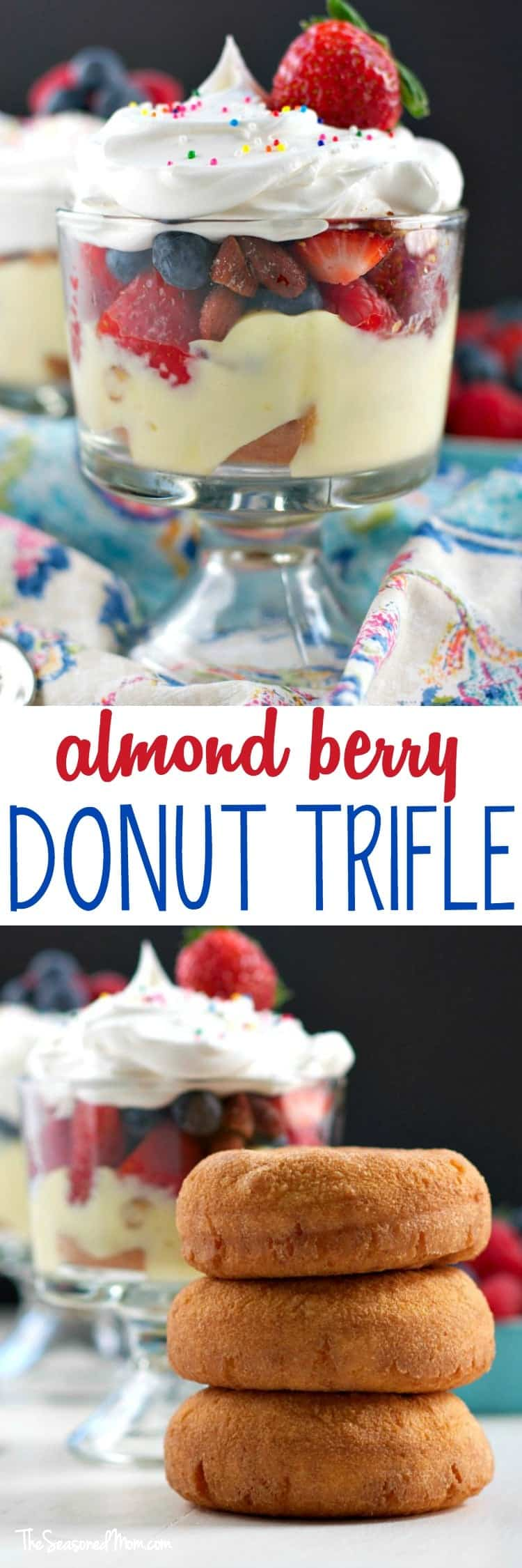 Layers of fresh fruit, roasted almonds, creamy pudding, and cake donuts create a decadent dish that's perfect for a special brunch celebration! In only 15 minutes, you can prepare a beautiful Almond Berry Donut Trifle for a quick and easy make-ahead breakfast or dessert that is sure to wow your guests!