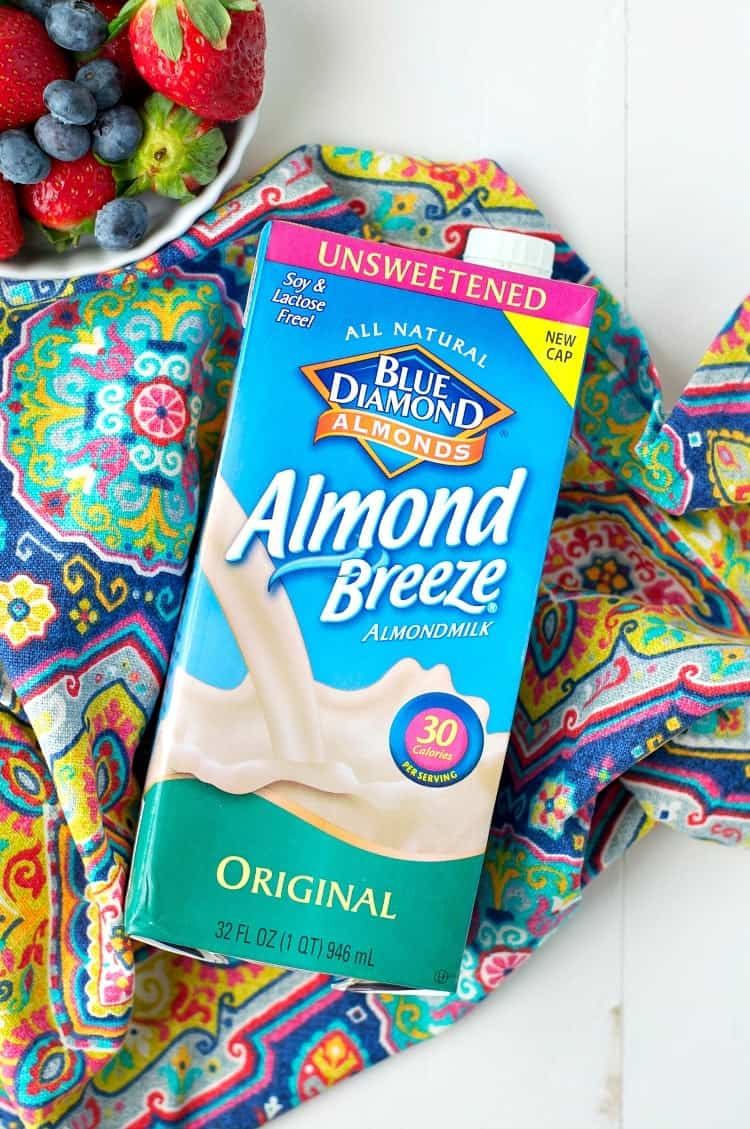 An overhead shot a carton of almond breeze almond milk