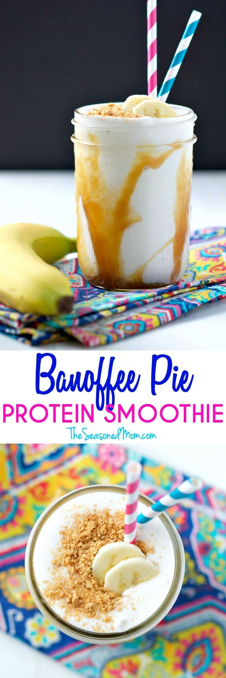For about 200 calories you can enjoy this cool, creamy, and healthy Banoffee Pie Protein Smoothie! It's a decadent-tasting breakfast or snack that blends banana, caramel, and a graham cracker crust in one delicious clean eating recipe!