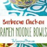 A collage image of ramen noodle bowls