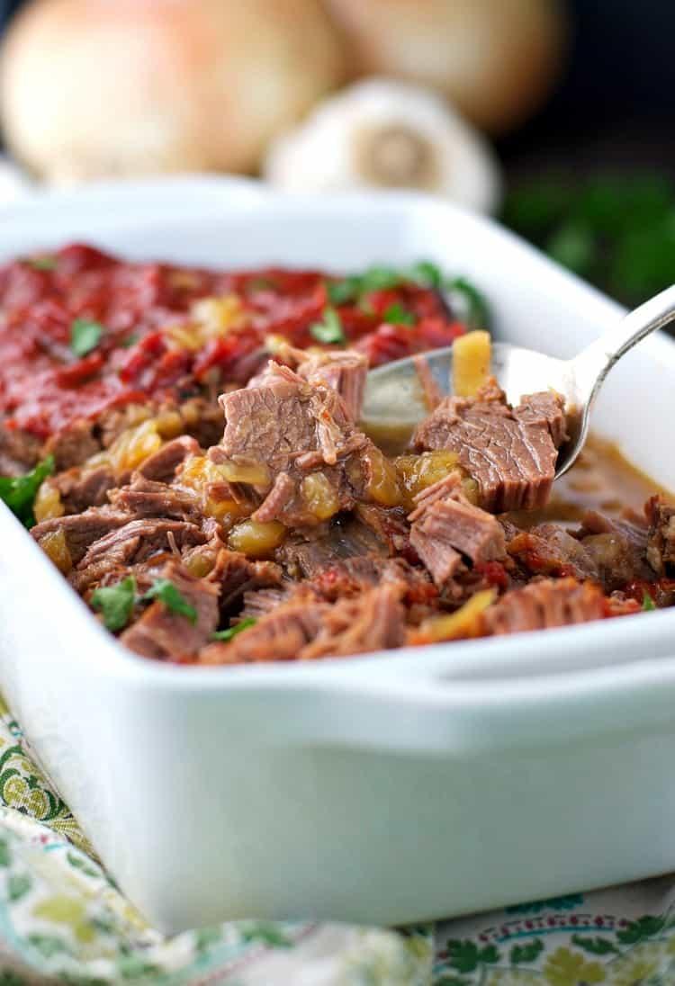 Braised Beef Brisket in a white dish