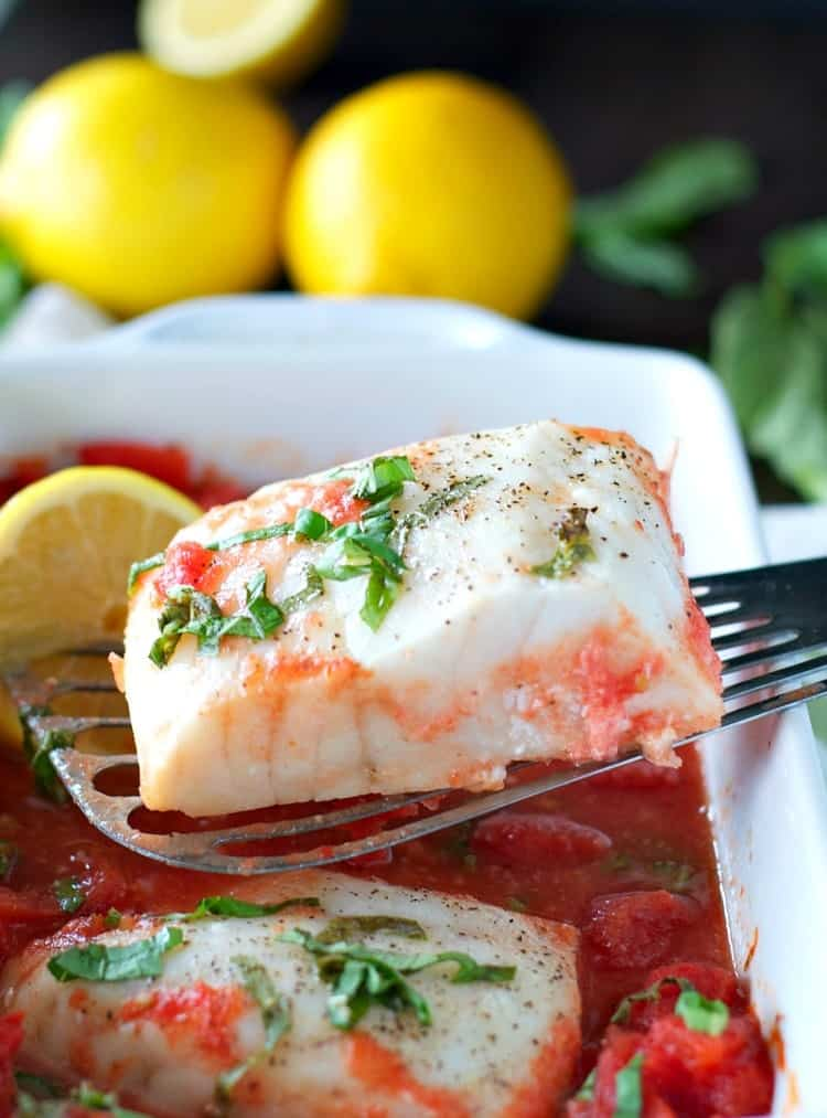 Baked fish such as halibut or cod is a quick and healthy dinner idea!