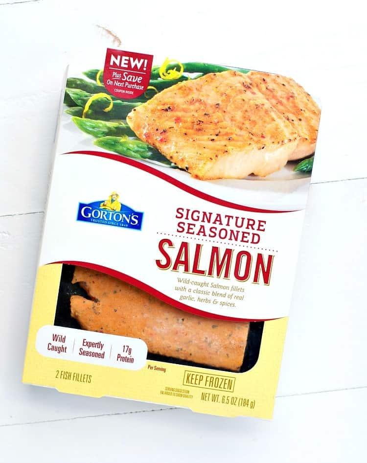 A product shot of Gordon's signature seasoned salmon
