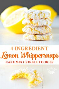 Long collage of 4 ingredient Lemon Whippersnaps Cake Mix Crinkle Cookies
