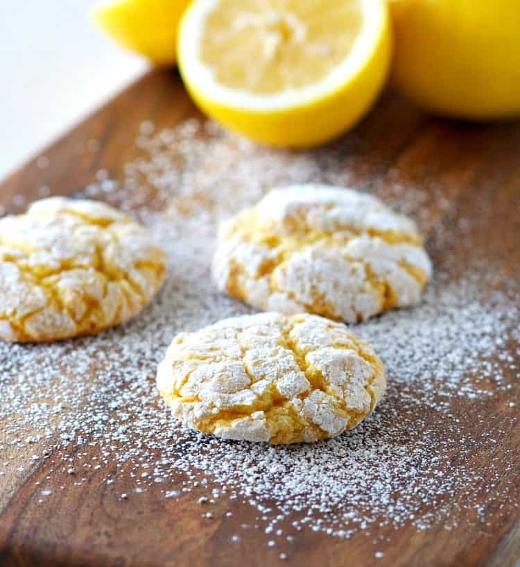Lemon Whippersnaps are easy 4-ingredient Cake Mix Crinkle Cookies that are soft and chewy!