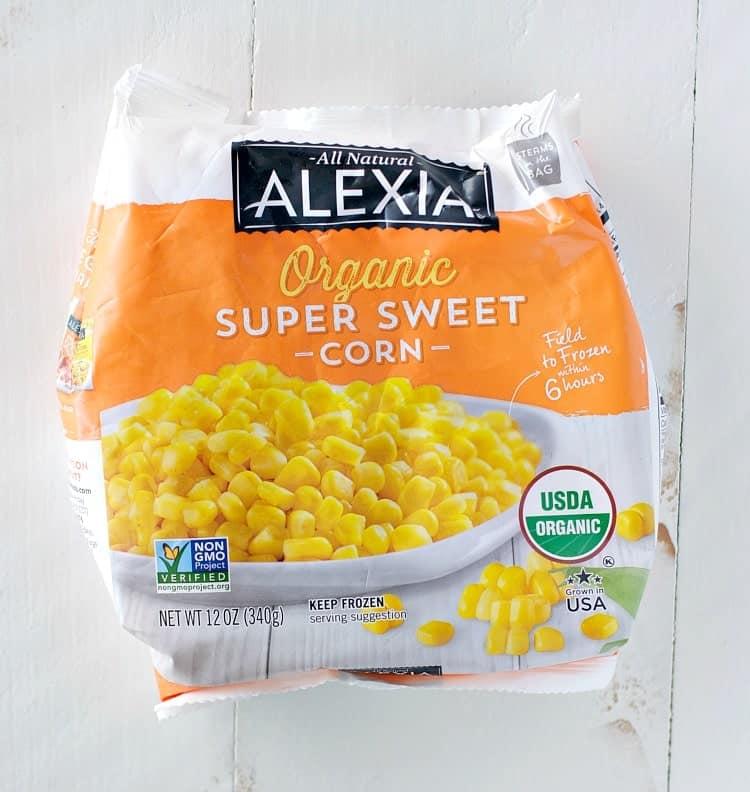 An overhead shot of Alexia sweet corn