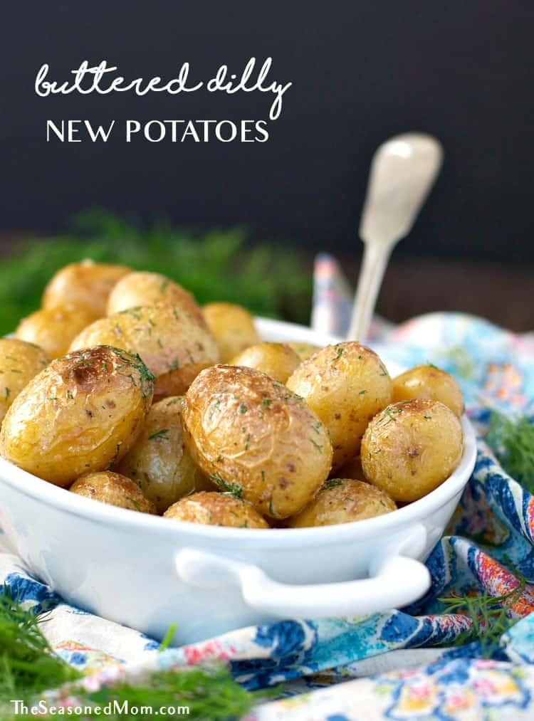 Simple is usually best, and these Buttered Dilly New Potatoes are no exception! Just 5 minutes of prep time results in the perfect side dish -- crispy, tender potatoes that are lightly dressed in butter, garlic, salt, and fresh herbs!