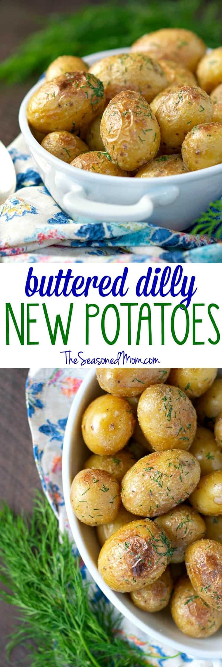 ... potatoes that are lightly dressed in butter, garlic, salt, and fresh