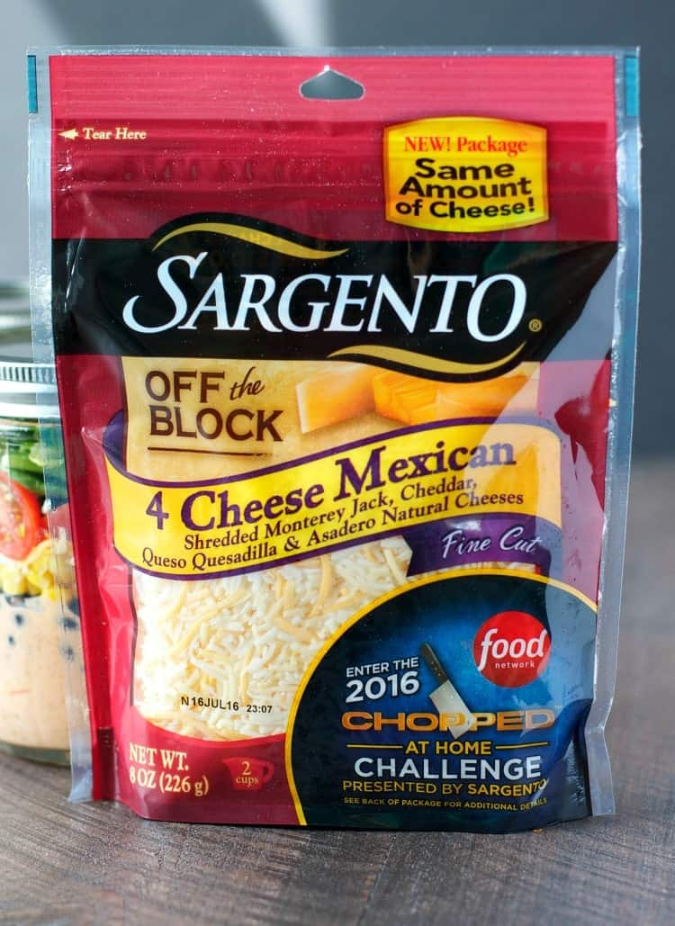 A product shot of Sargento Mexican cheese