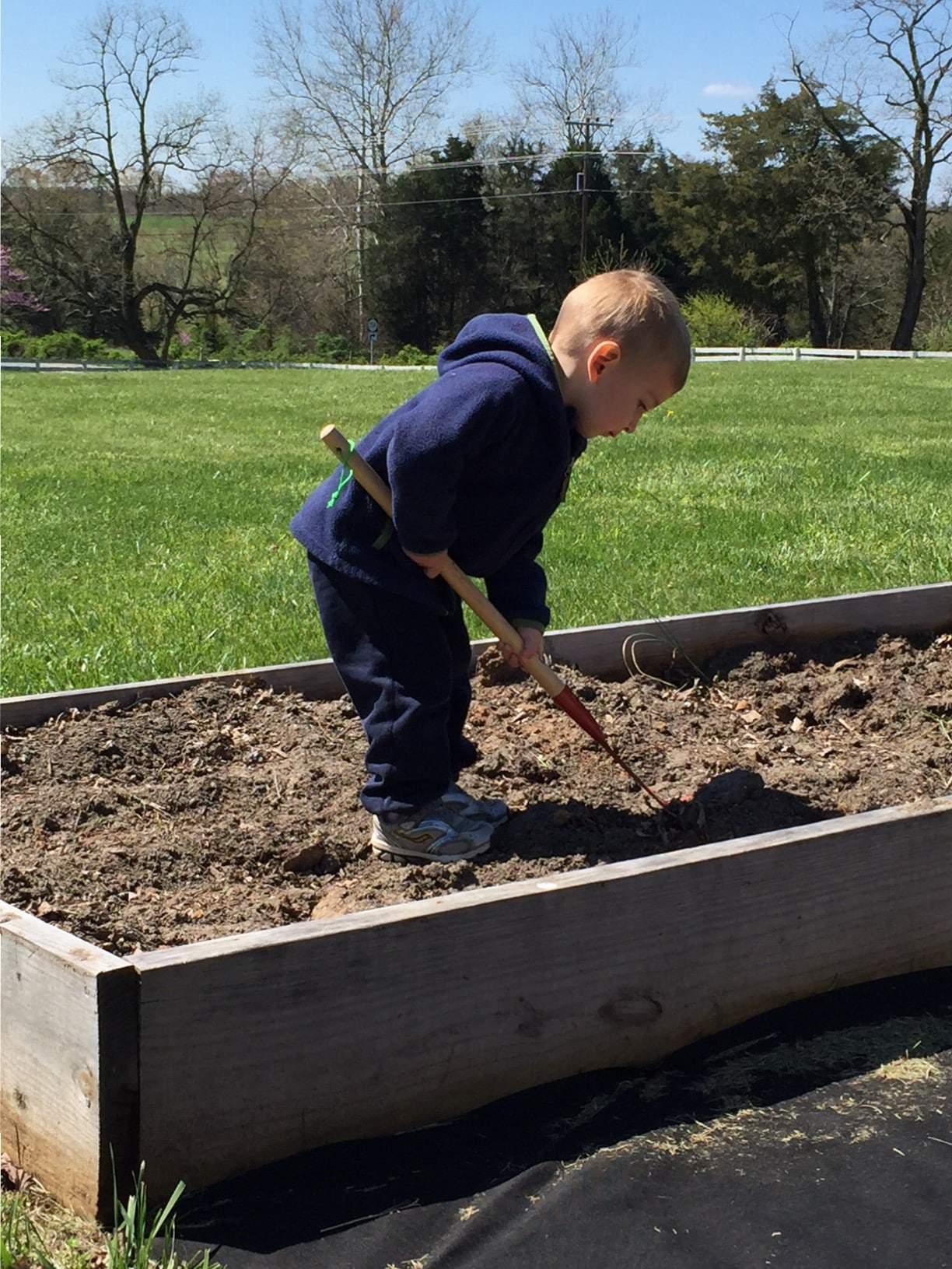 A boy preparing a planter for seeds