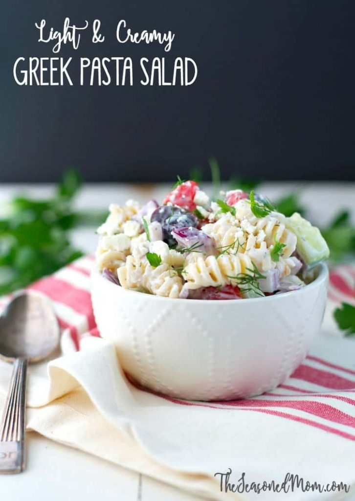 Light and Creamy Greek Pasta Salad